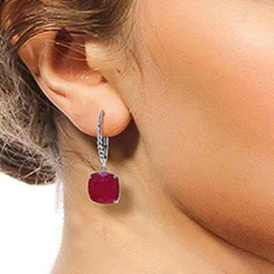 Ruby Rococo Twist Drop Earrings 9.4ctw in 9ct White Gold
