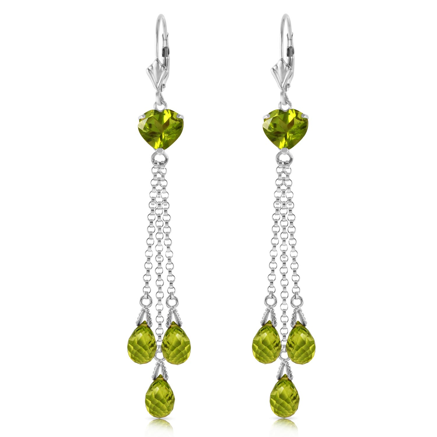 Peridot Vestige Heart Drop Earrings 9.5ctw in 9ct White Gold