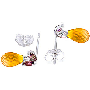 Citrine and Amethyst Snowdrop Stud Earrings 3.4ctw in 9ct White Gold