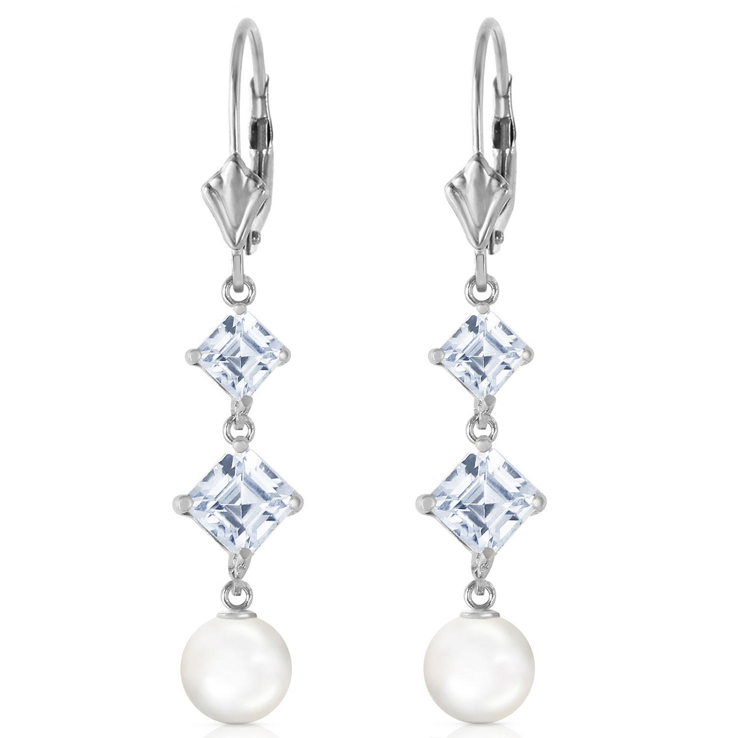Pearl and Aquamarine Drop Earrings 6.5ctw in 14K White Gold