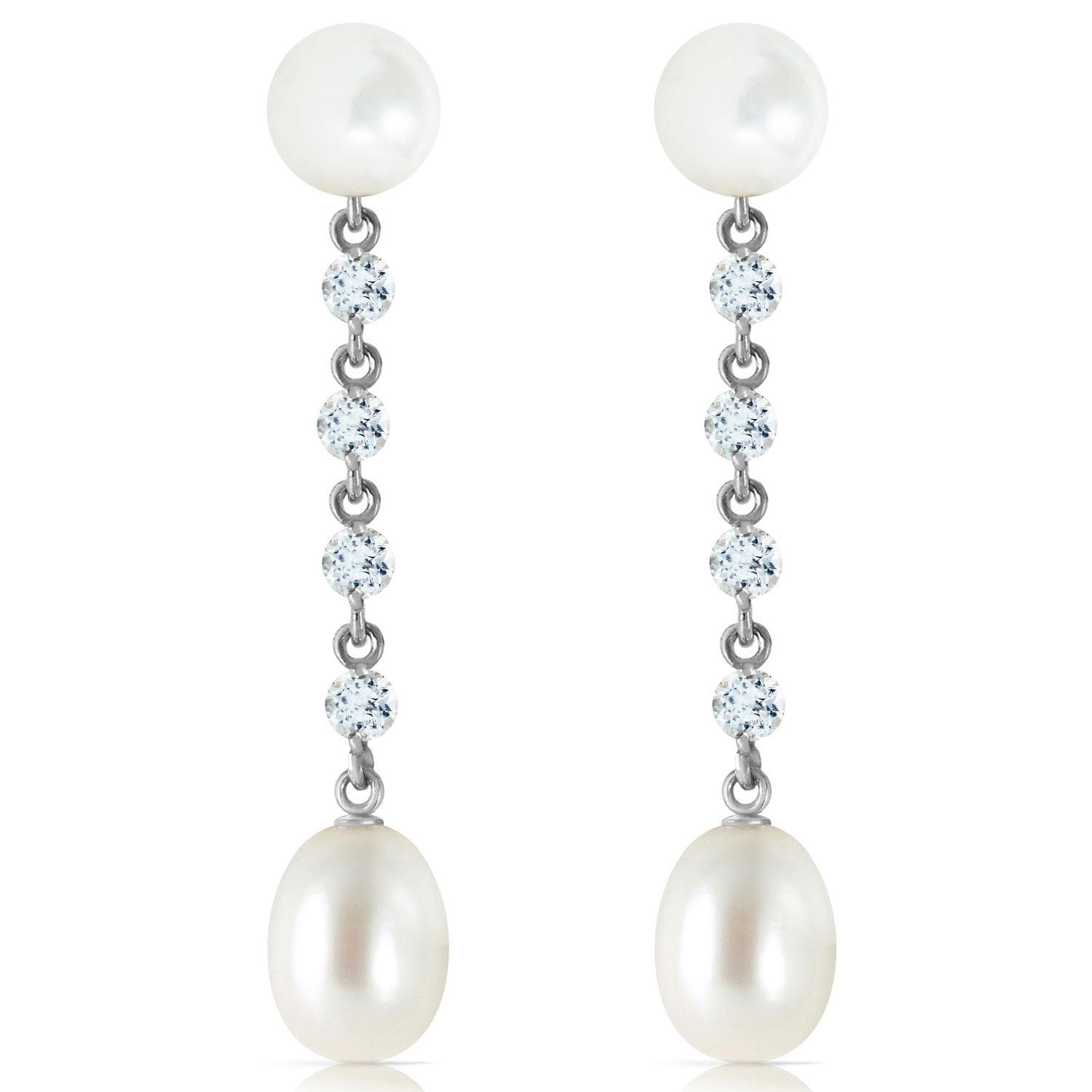 Pearl and Aquamarine by the Yard Drop Earrings 11.0ctw in 9ct White Gold