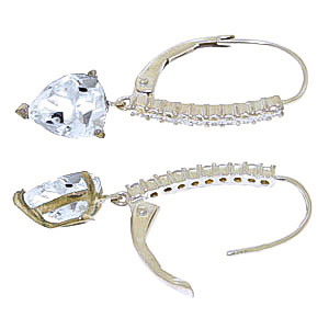 Diamond and Aquamarine Laced Drop Earrings in 9ct White Gold