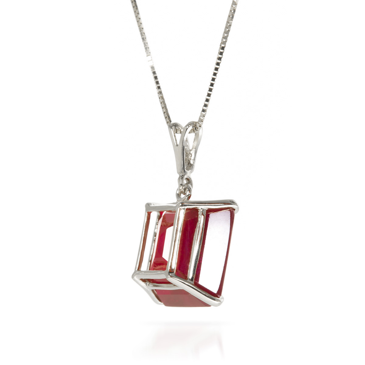 Ruby Pendant Necklace 6.5ct in 14K White Gold