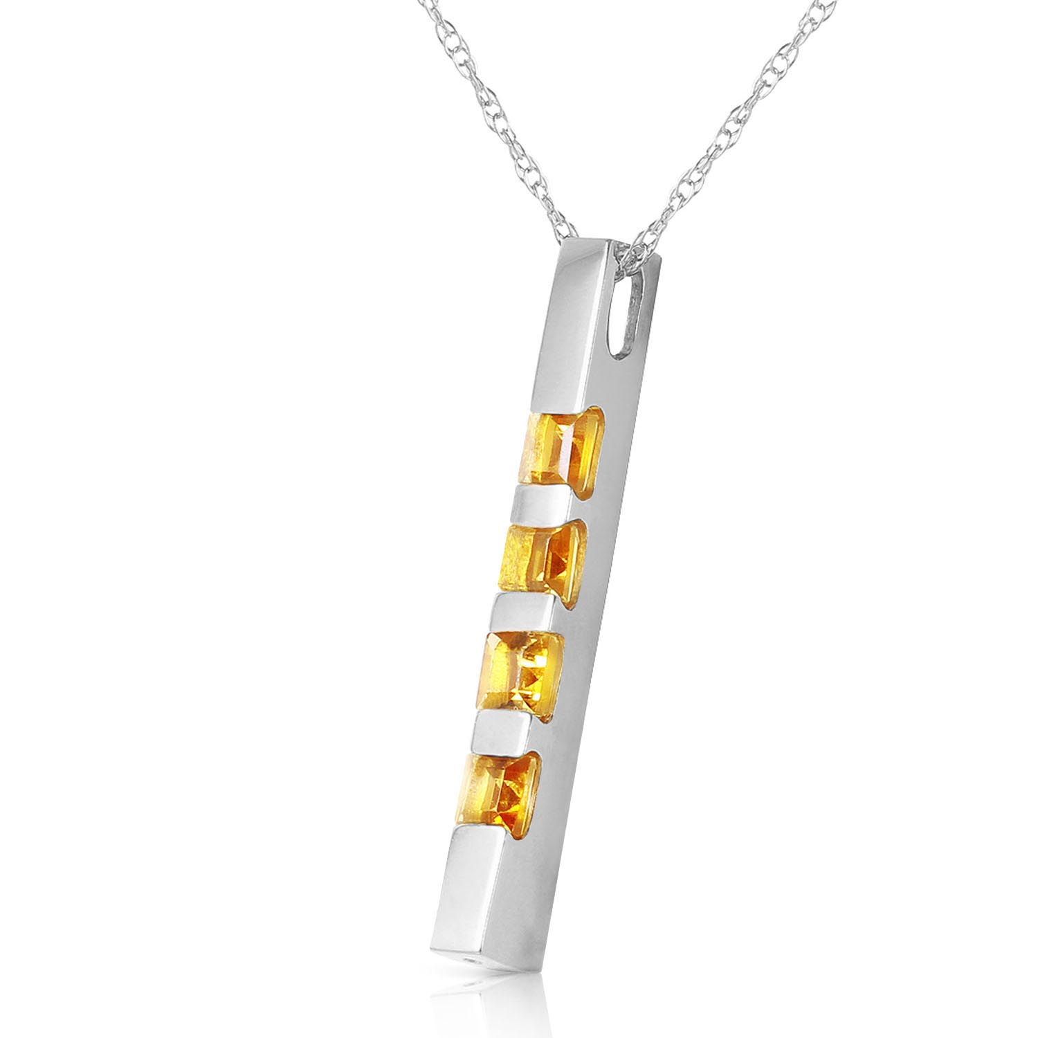 Citrine Bar Pendant Necklace 0.35ctw in 9ct White Gold