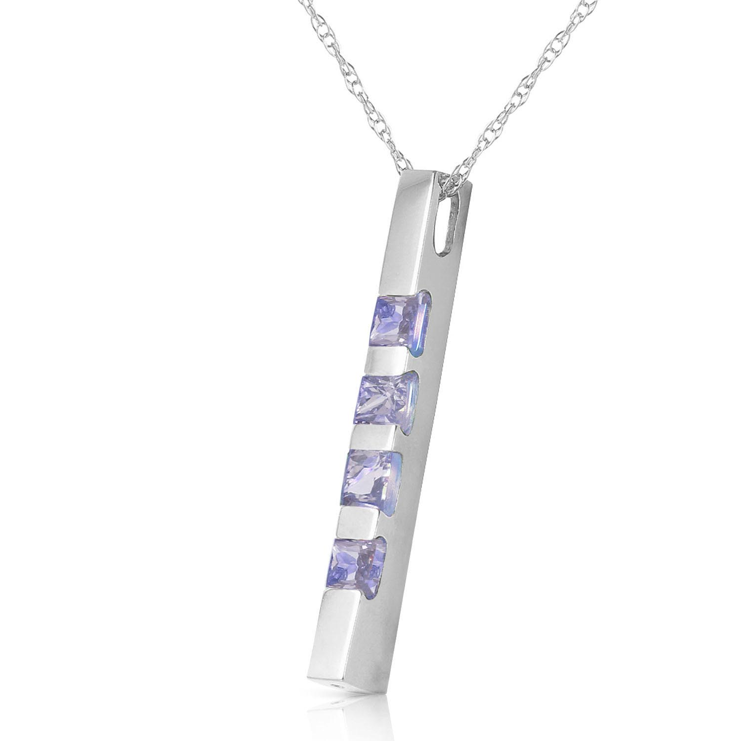 Tanzanite Bar Pendant Necklace 0.35ctw in 9ct White Gold