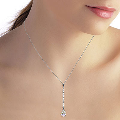 Diamond and White Topaz Bar Pendant Necklace in 14K White Gold