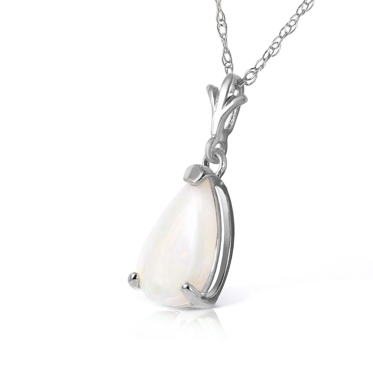 Opal Belle Pendant Necklace 0.77ct in 9ct White Gold