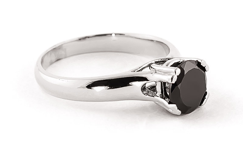 Black Diamond Solitaire Ring in 9ct White Gold