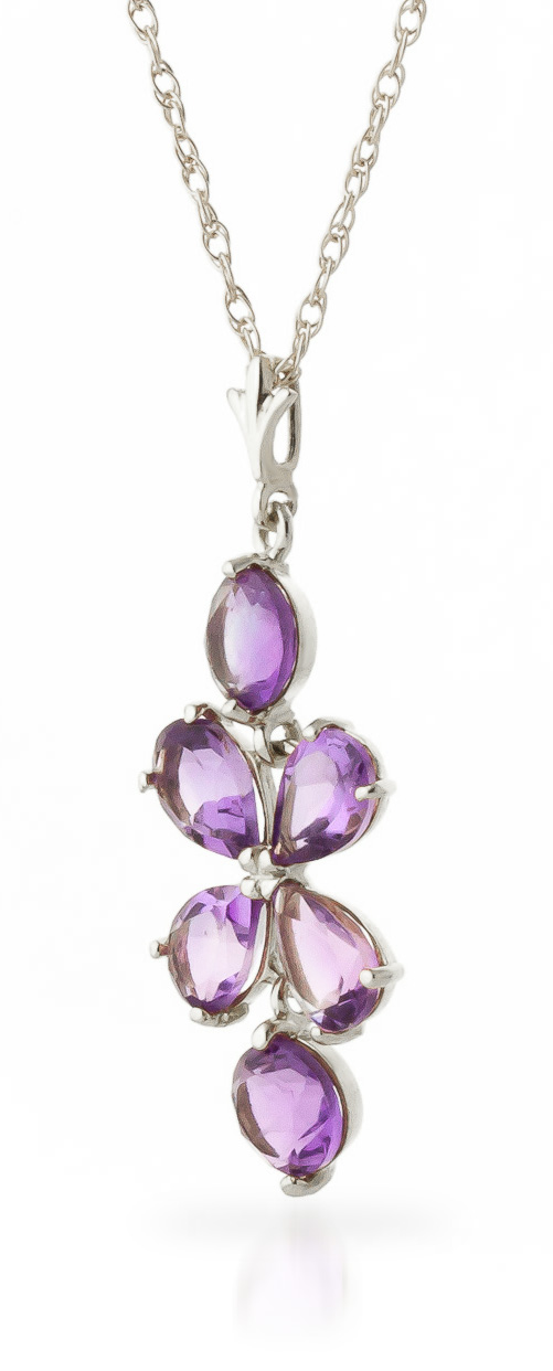 Amethyst Blossom Pendant Necklace 3.15ctw in 9ct White Gold