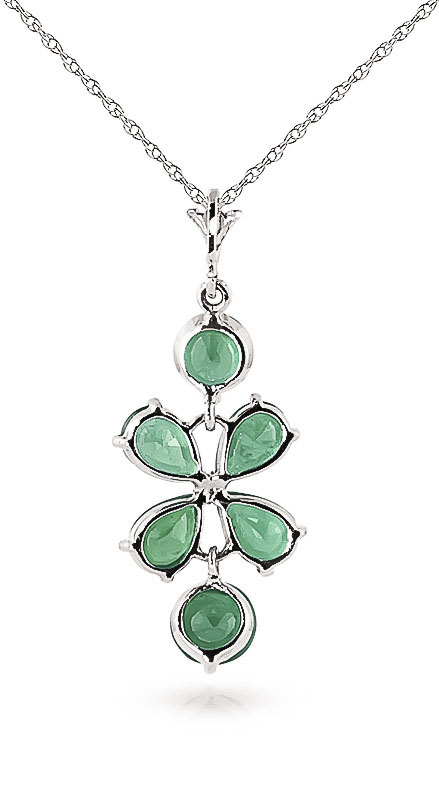 Emerald Blossom Pendant Necklace 3.15ctw in 14K White Gold