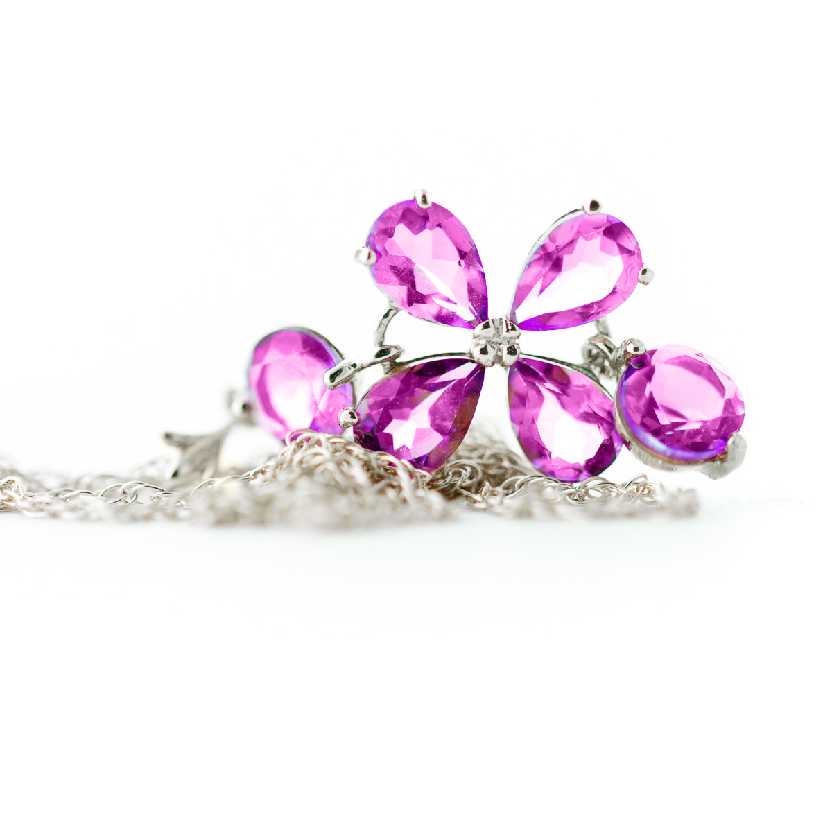 Pink Topaz Blossom Pendant Necklace 3.15ctw in 9ct White Gold