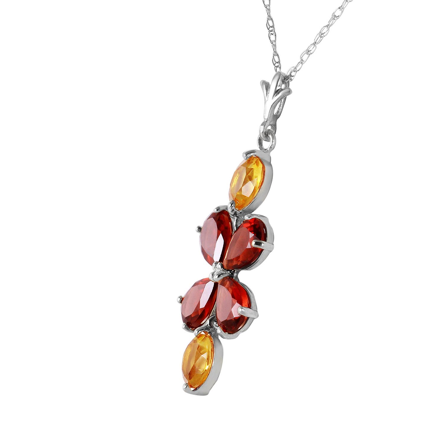 Garnet and Citrine Blossom Pendant Necklace 3.15ctw in 9ct White Gold