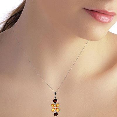Citrine and Garnet Blossom Pendant Necklace 3.15ctw in 9ct White Gold