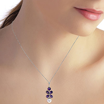 Amethyst and Pearl Blossom Pendant Necklace 3.65ctw in 9ct White Gold