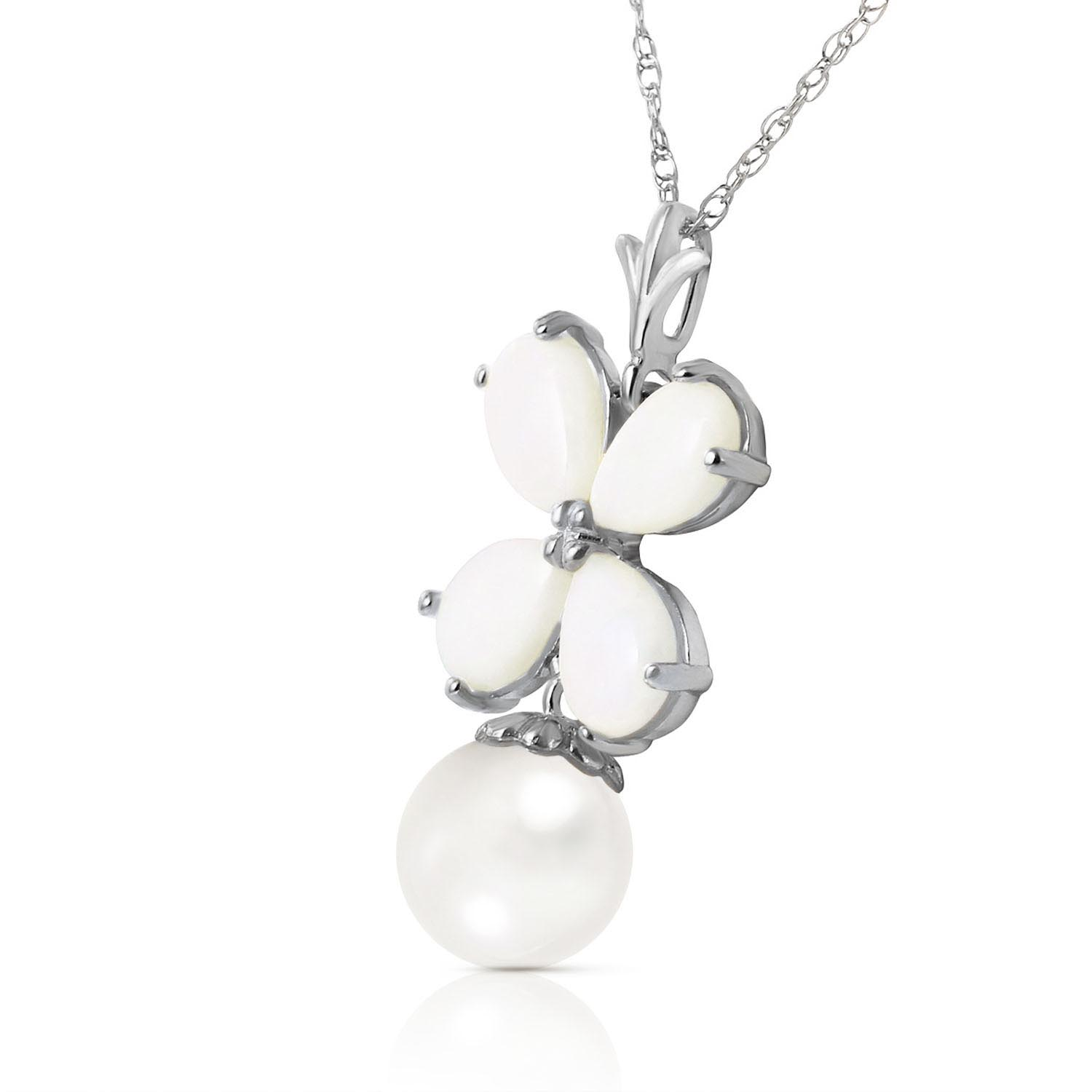 Opal and Pearl Blossom Pendant Necklace 3.0ctw in 14K White Gold