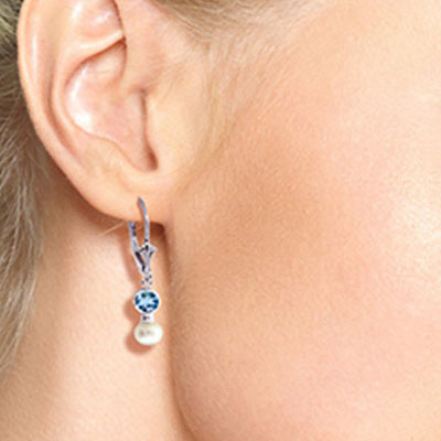 Pearl and Blue Topaz Drop Earrings 2.7ctw in 9ct White Gold