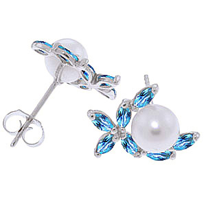 Pearl and Blue Topaz Ivy Stud Earrings 3.25ctw in 14K White Gold