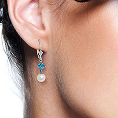 Pearl and Blue Topaz Drop Earrings 5.0ctw in 14K White Gold