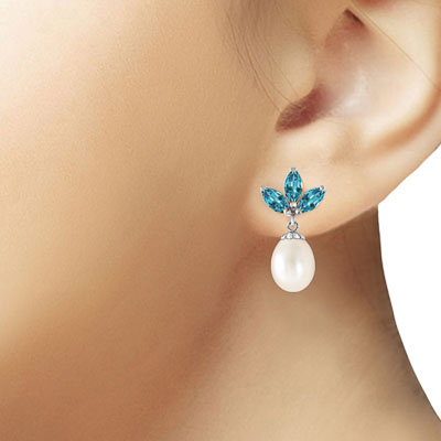 Pearl and Blue Topaz Petal Drop Earrings 9.5ctw in 14K White Gold