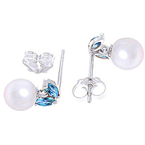 Pearl and Blue Topaz Snowdrop Stud Earrings 4.4ctw in 14K White Gold