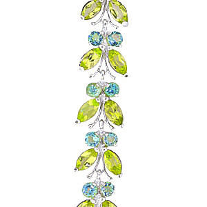 Peridot and Blue Topaz Butterfly Bracelet 16.5ctw in 14K White Gold