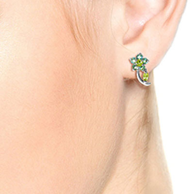 Peridot and Blue Topaz Flower Stud Earrings 1.72ctw in 9ct White Gold
