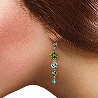 Peridot and Blue Topaz Quadruplo Drop Earrings 7.8ctw in 14K White Gold