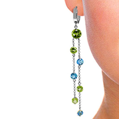 Peridot and Blue Topaz Roman Drop Earrings 8.99ctw in 9ct White Gold