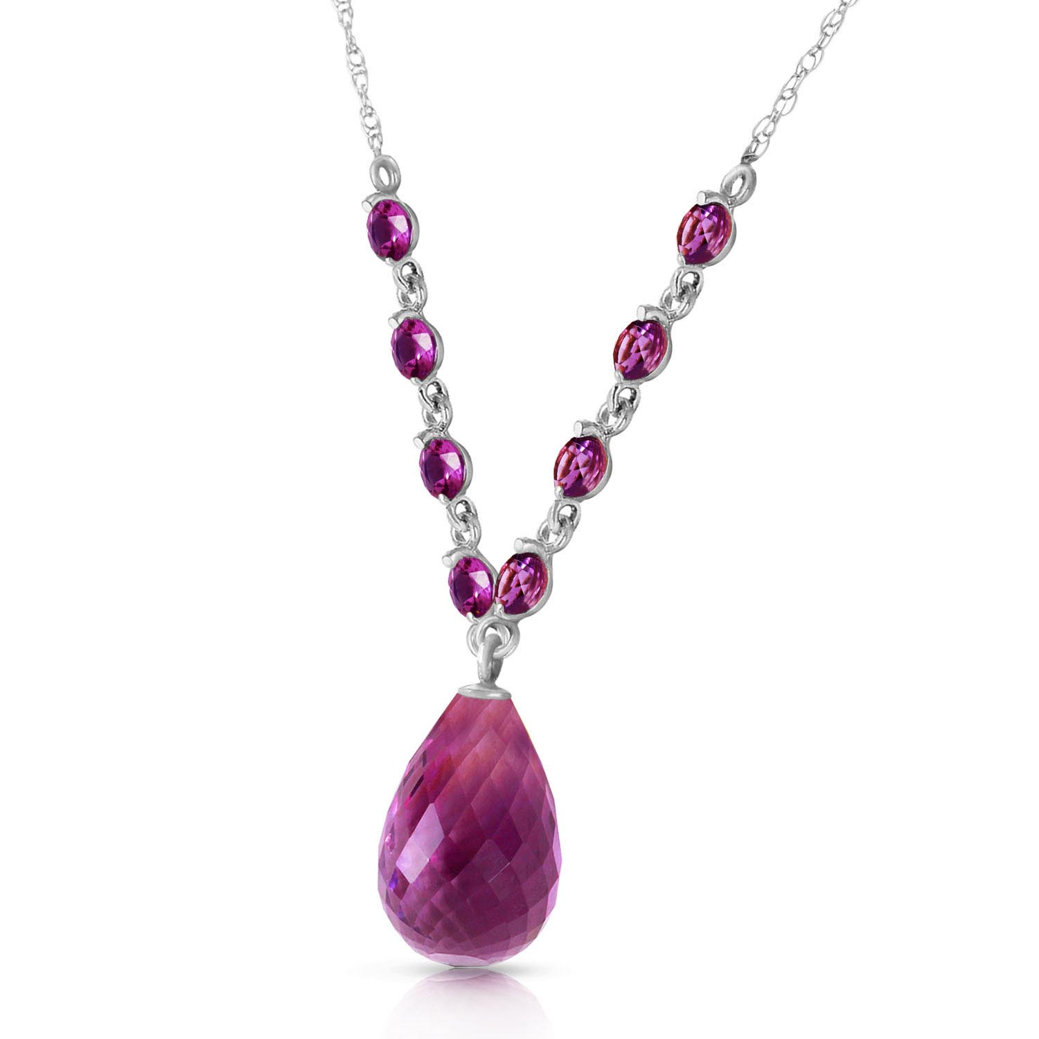 Amethyst Briolette Pendant Necklace 11.5ctw in 9ct White Gold