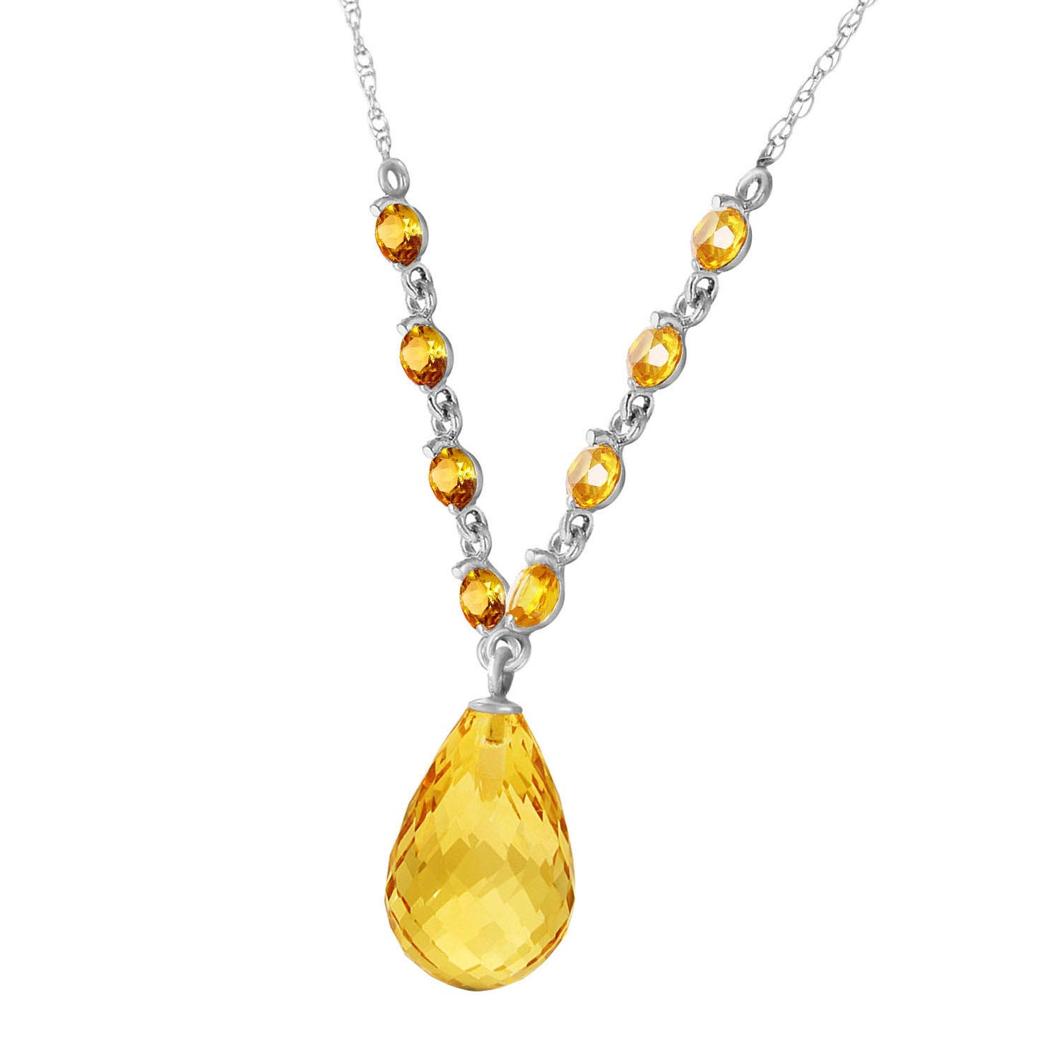 Citrine Briolette Pendant Necklace 11.5ctw in 9ct White Gold