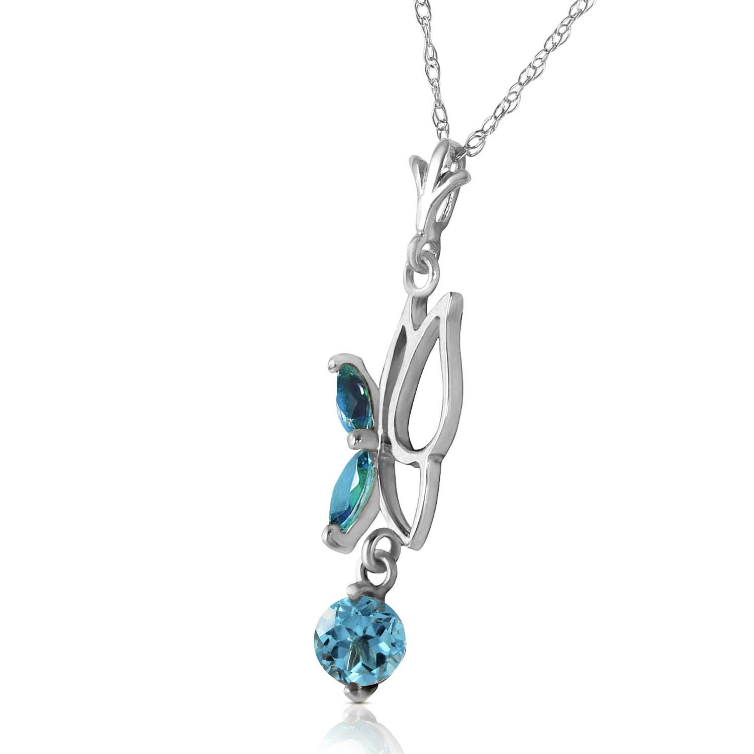 Blue Topaz Butterfly Pendant Necklace 0.18Kw in 9ct White Gold