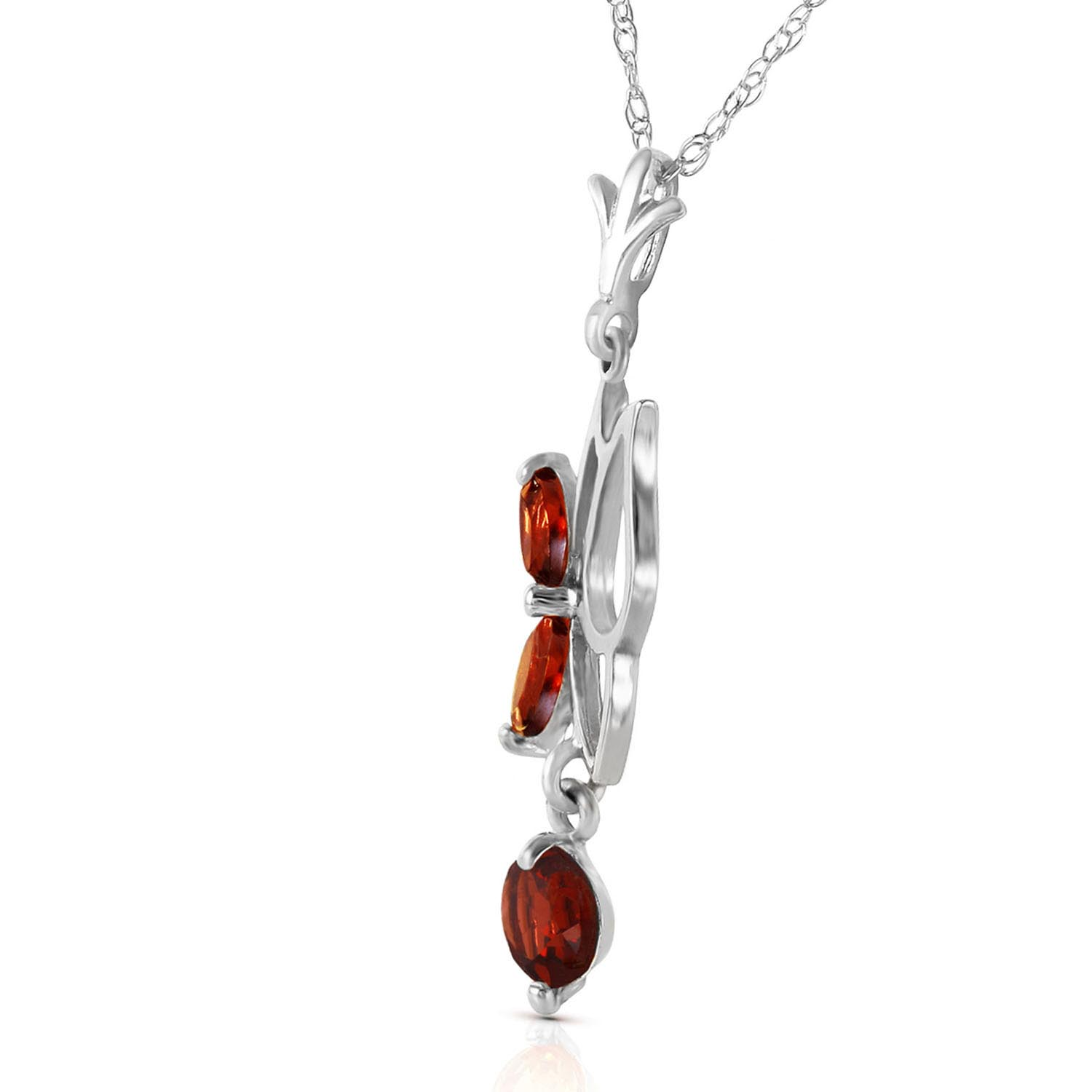 Garnet Butterfly Pendant Necklace 0.18ctw in 9ct White Gold