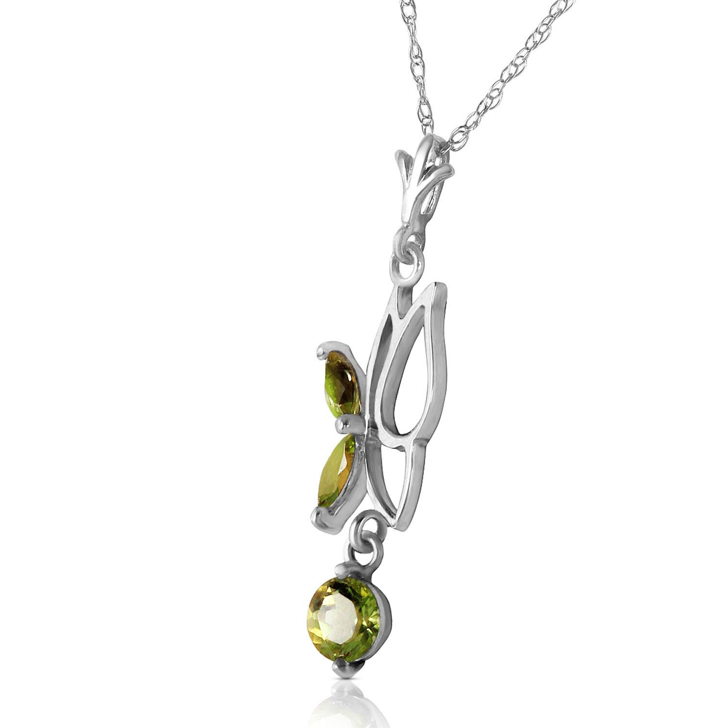 Peridot Butterfly Pendant Necklace 0.18ctw in 14K White Gold