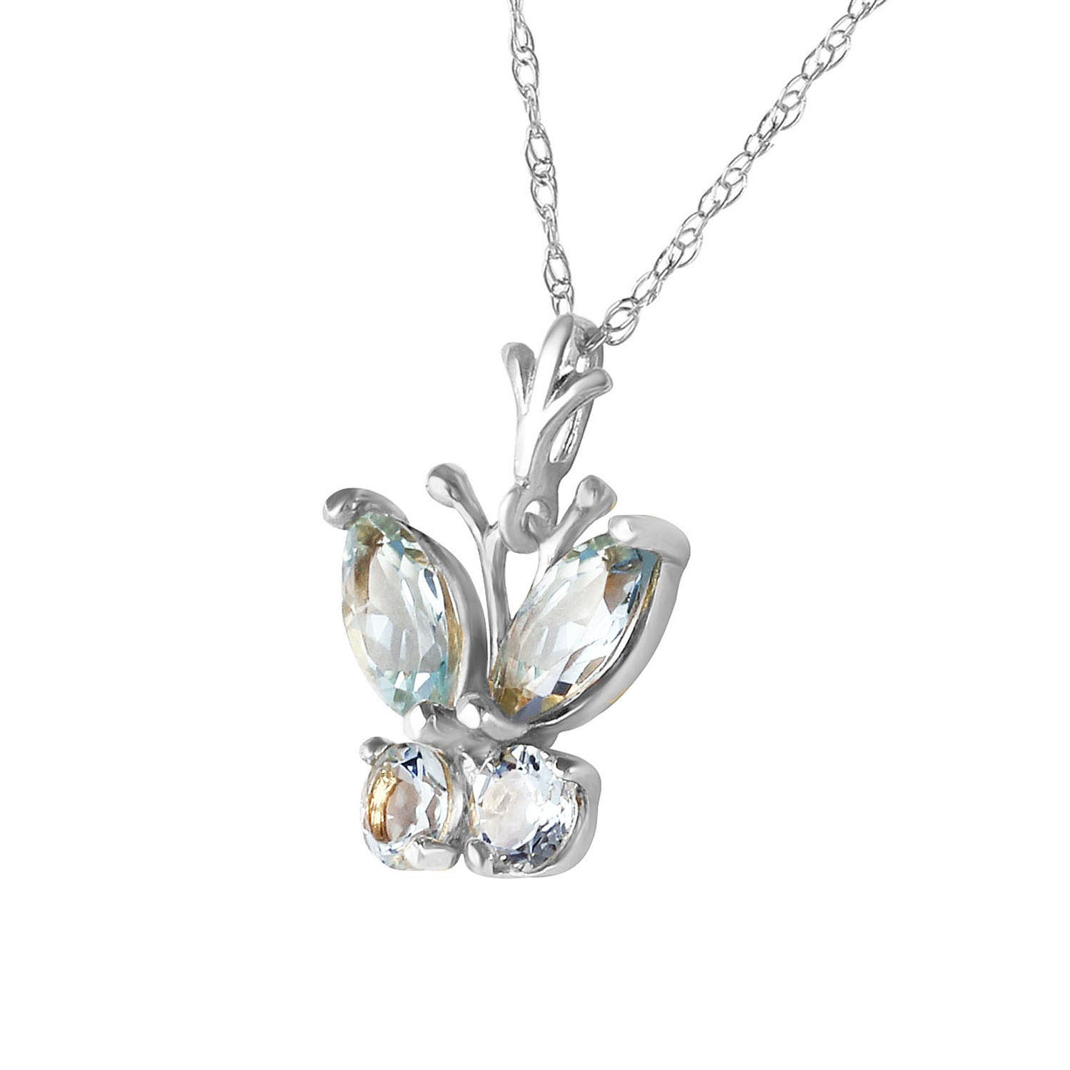 Aquamarine Butterfly Pendant Necklace 0.6ctw in 14K White Gold
