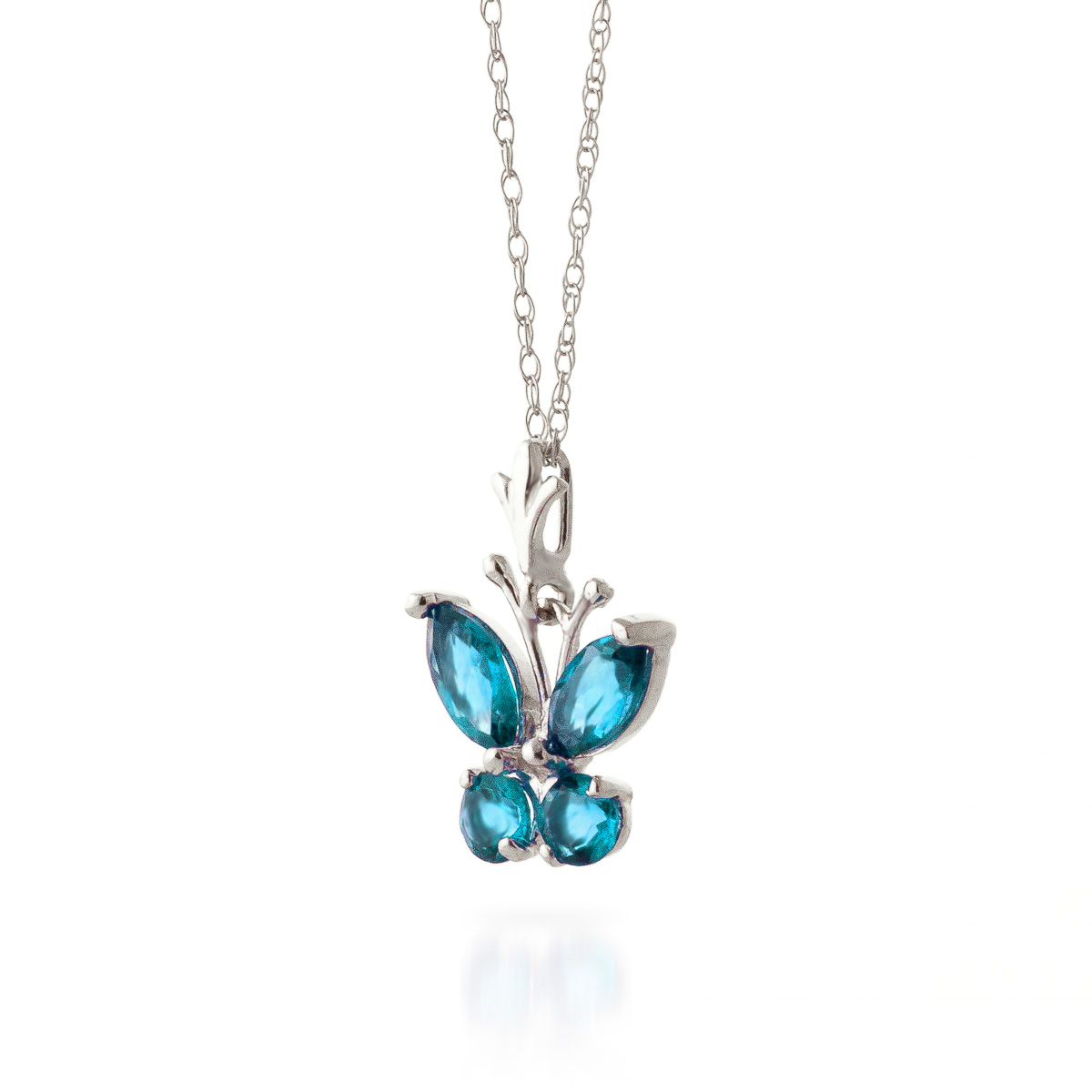 Blue Topaz Butterfly Pendant Necklace 0.6ctw in 14K White Gold