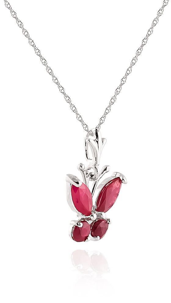 Ruby Butterfly Pendant Necklace 0.6ctw in 14K White Gold