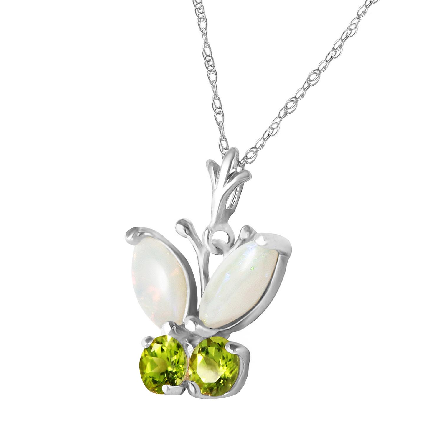 Opal and Peridot Butterfly Pendant Necklace 0.7ctw in 9ct White Gold
