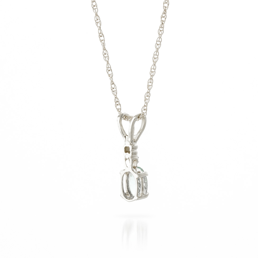 Aquamarine and Diamond Pendant Necklace 0.45ct in 14K White Gold