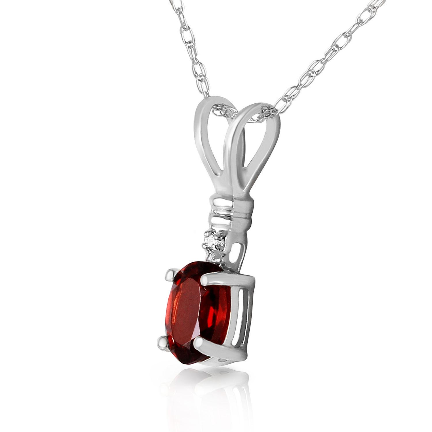 Garnet and Diamond Pendant Necklace 0.45ct in 9ct White Gold