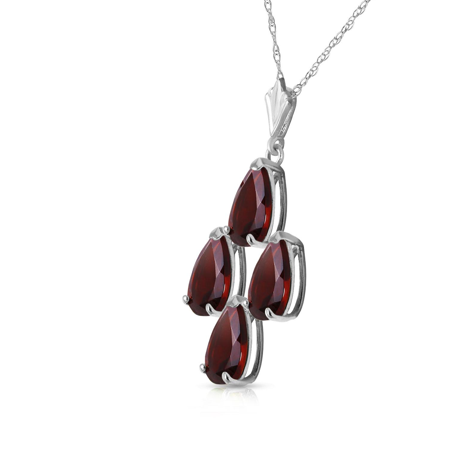 Pear Cut Garnet Pendant Necklace 1.5ctw in 9ct White Gold