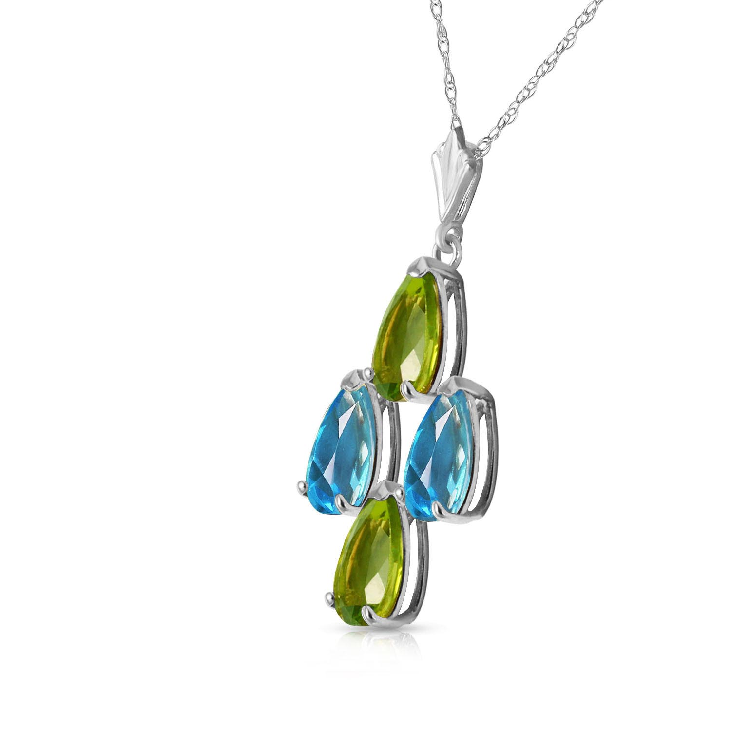 Peridot and Blue Topaz Pendant Necklace 1.5ctw in 14K White Gold