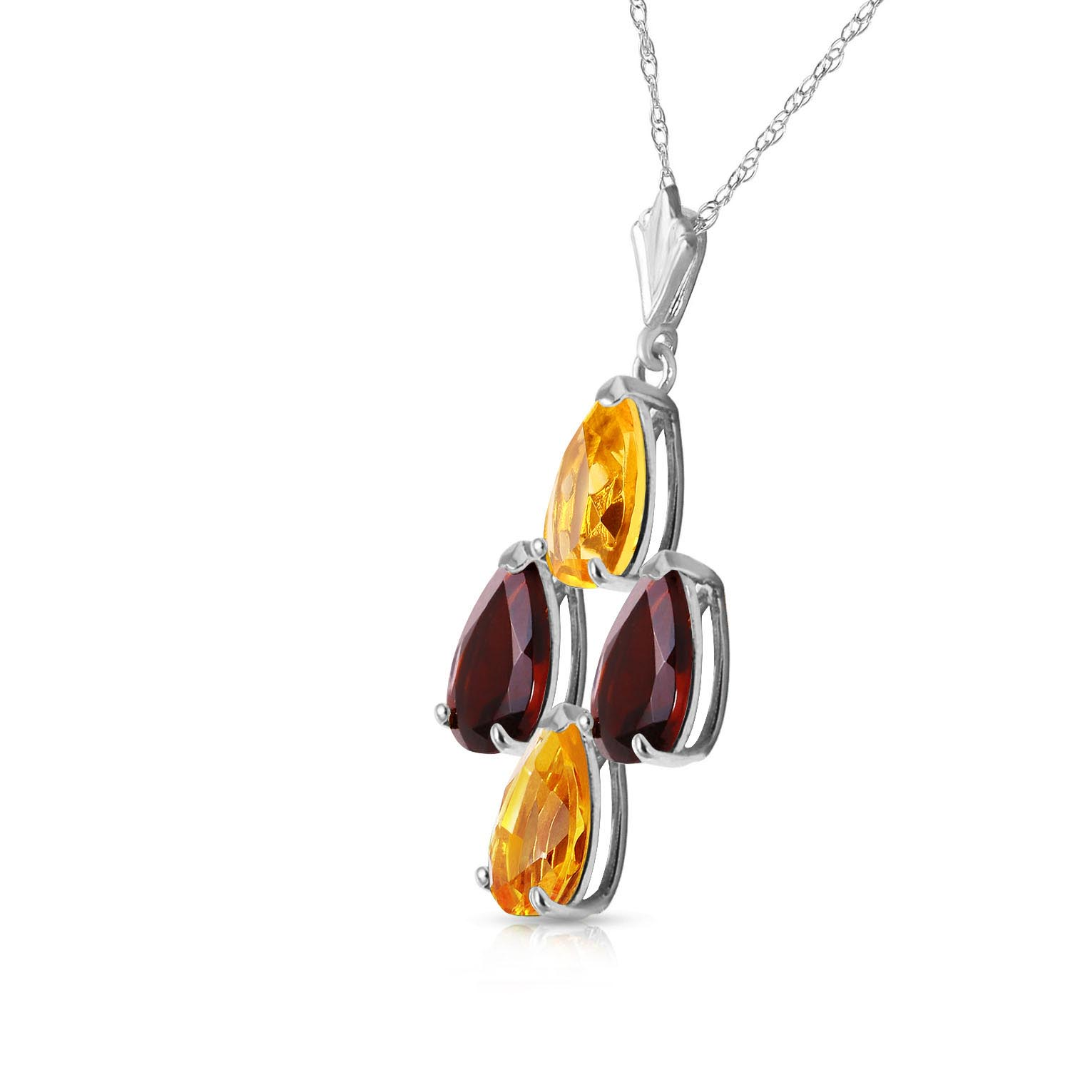 Citrine and Garnet Pendant Necklace 1.5ctw in 9ct White Gold