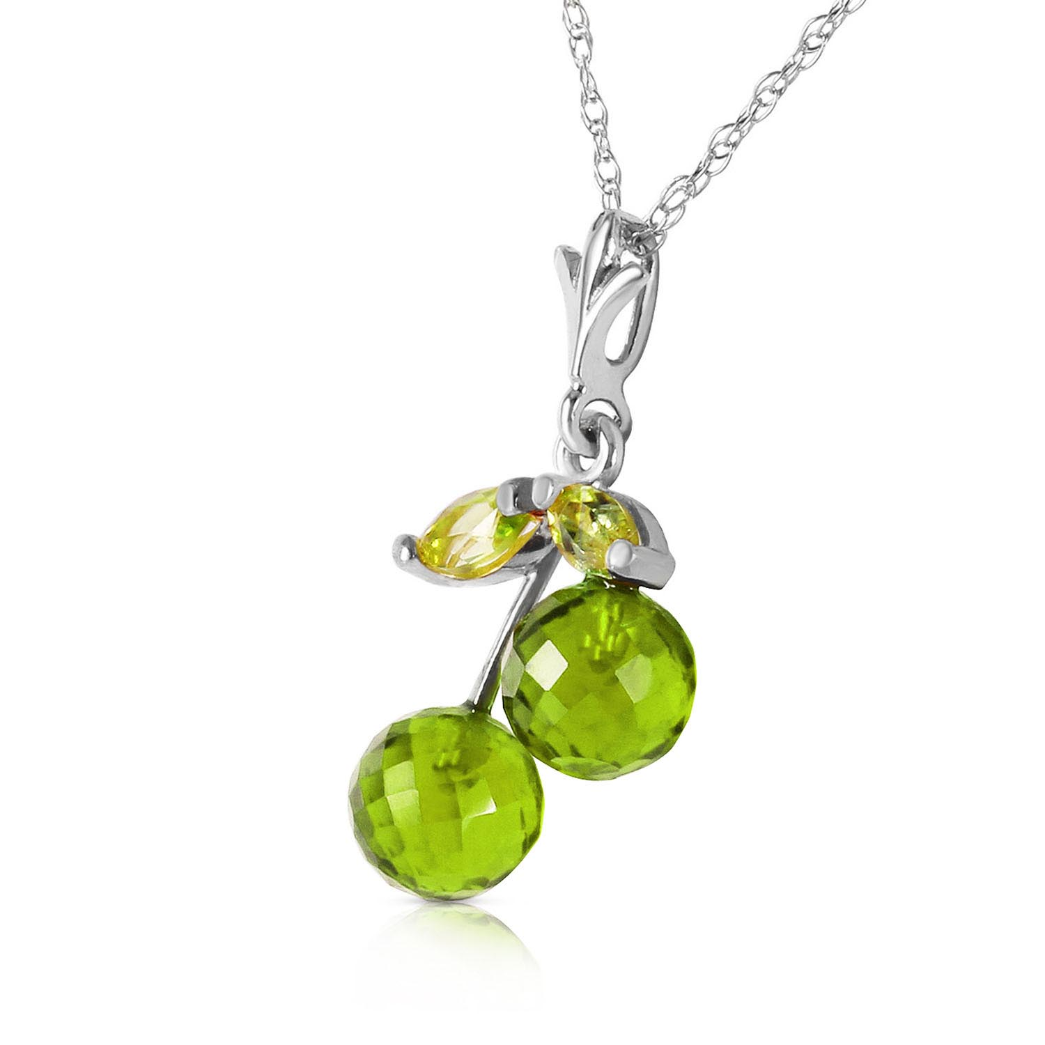 Peridot Cherry Drop Pendant Necklace 1.45ctw in 9ct White Gold