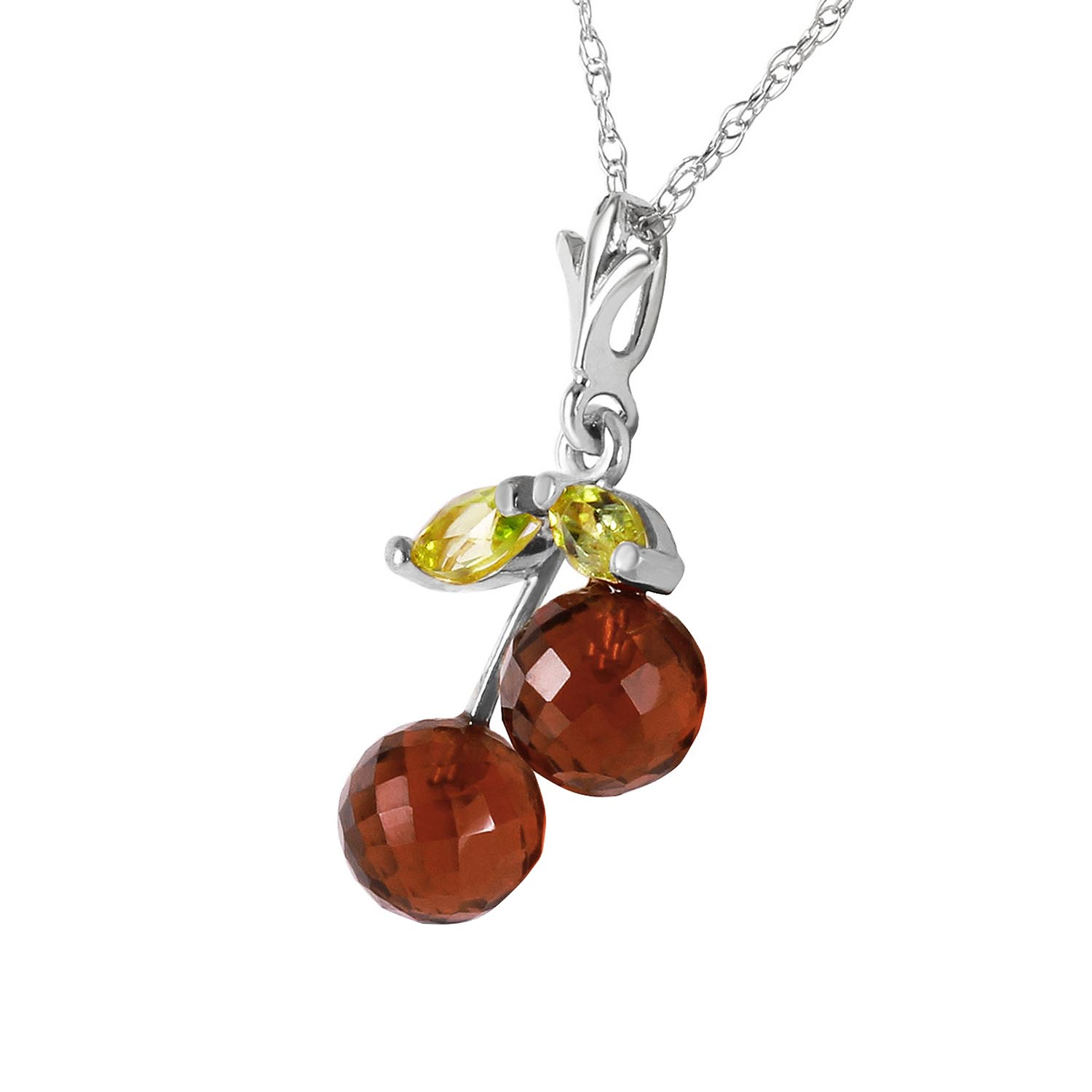 Garnet and Peridot Cherry Drop Pendant Necklace 1.45ctw in 9ct White Gold