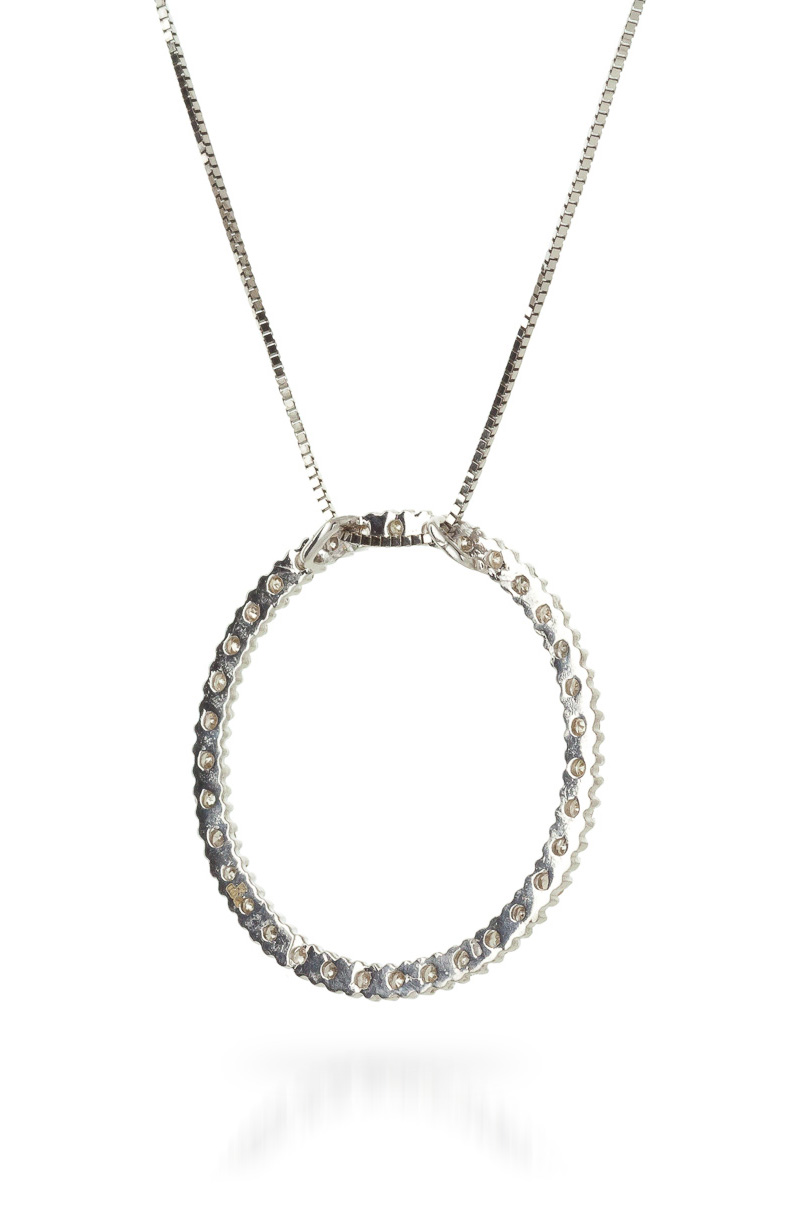 Diamond Circle of Life Pendant Necklace in 14K White Gold