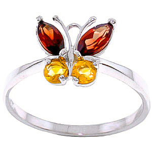 Garnet and Citrine Butterfly Ring 0.6ctw in 9ct White Gold