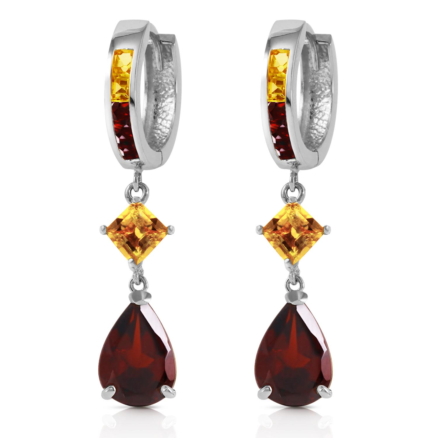 Garnet and Citrine Huggie Earrings 4.9ctw in 9ct White Gold