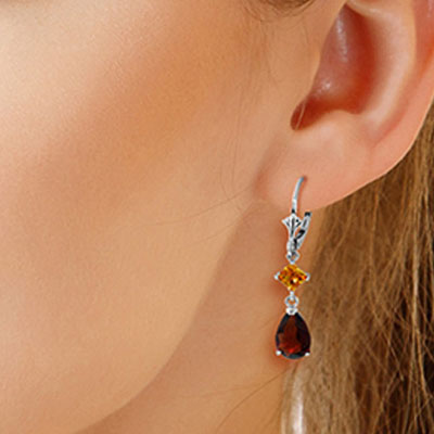 Garnet and Citrine Droplet Earrings 4.5ctw in 14K White Gold