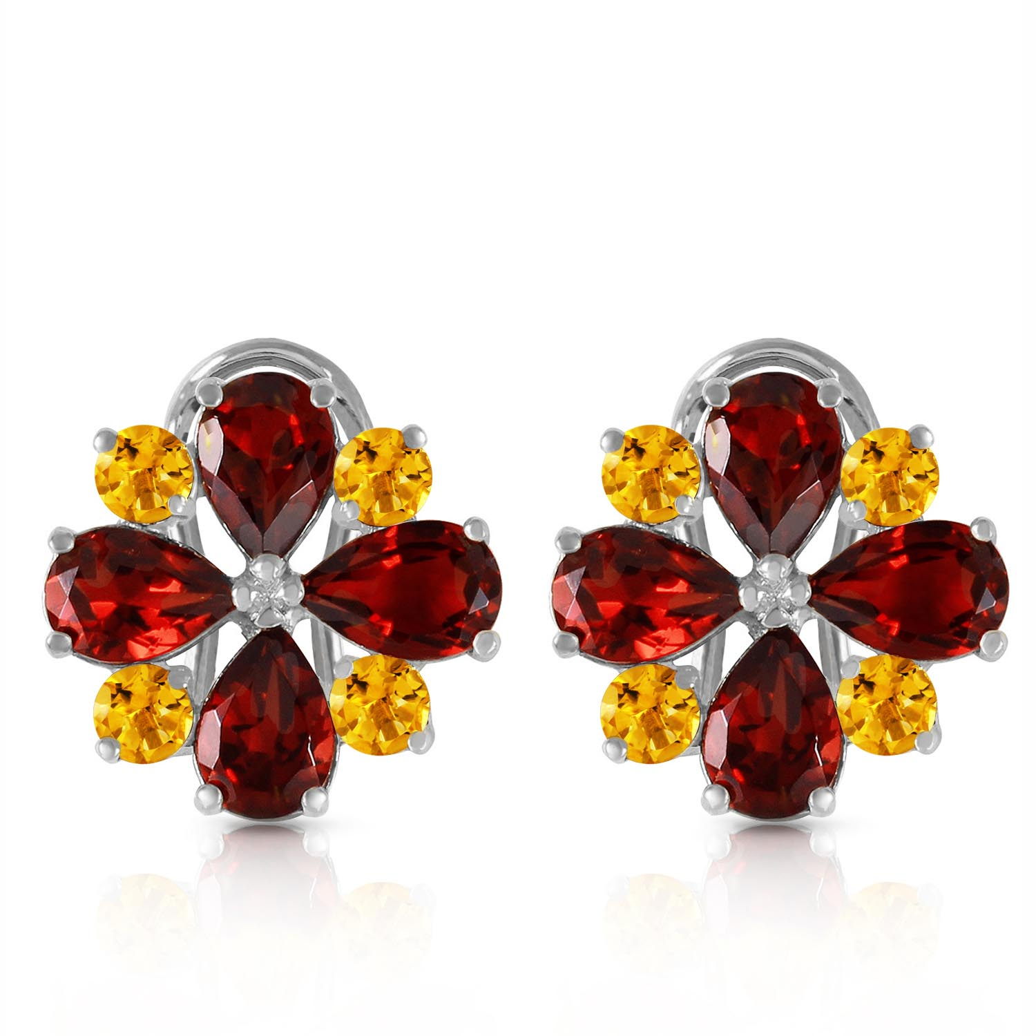 Garnet and Citrine Sunflower Stud French Clip Earrings 4.85ctw in 9ct White Gold