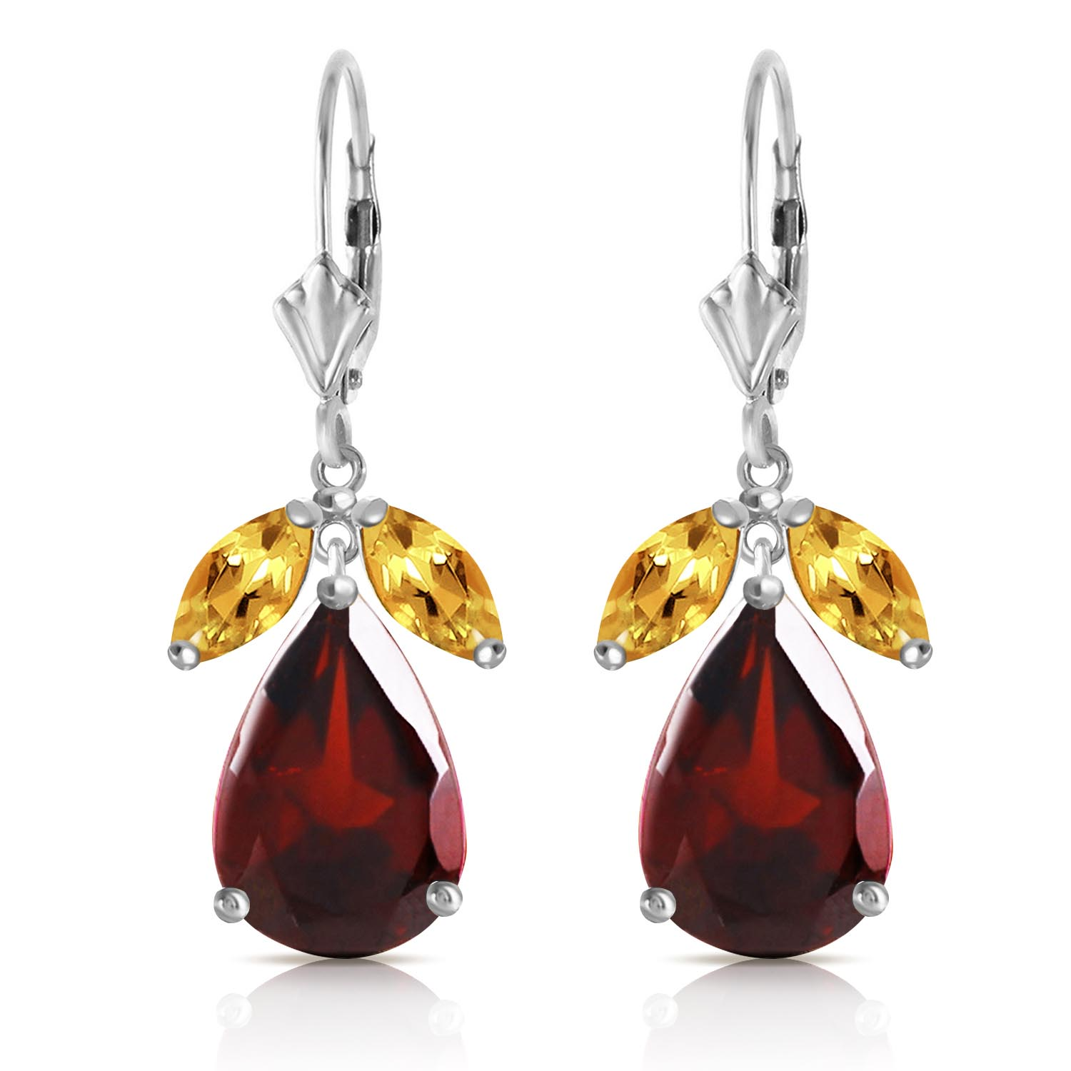 Garnet and Citrine Drop Earrings 13.0ctw in 14K White Gold